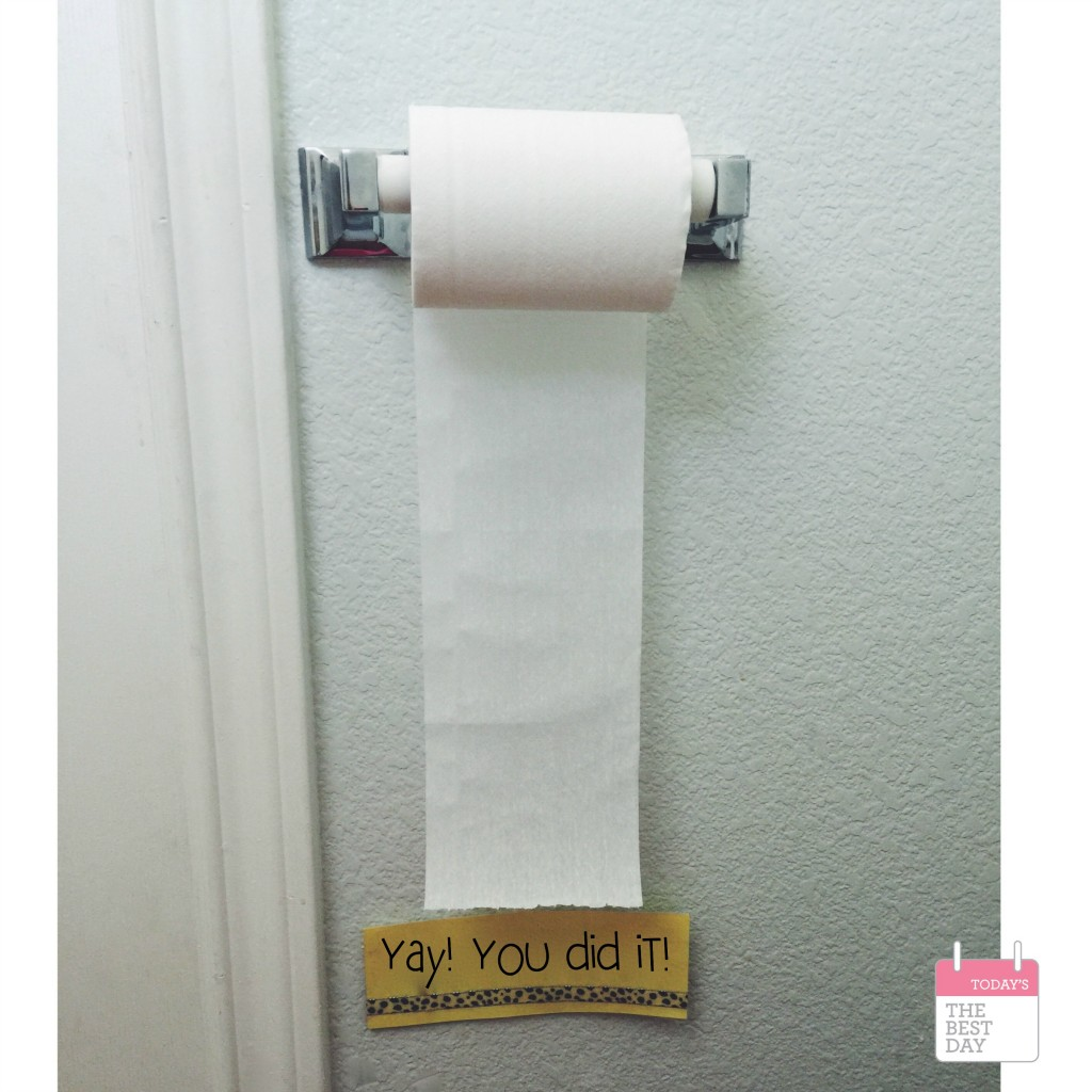 GENIUS! You know that mom moment when you walk into the bathroom and the toilet paper is... well...EVERYWHERE?! PROBLEM SOLVED: Tell those cute toddlers they get to pull the paper down to the paper - and when it gets there, they tear it off!