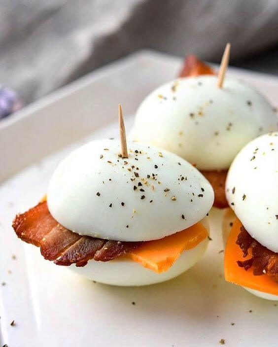2. Hardboiled Eggs with Bacon and Cheese